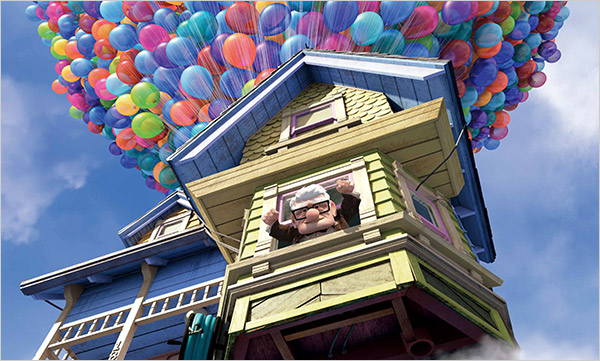 Carl in floating house Up 2009 animatedfilmreviews.filminspector.com
