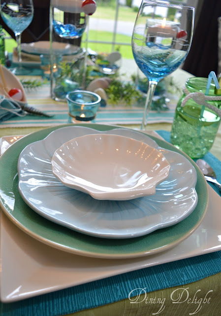 I also had to use my fish and wave etched wine glasses. & Dining Delight: Fishing Tablescape for Father\u0027s Day