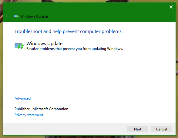 Windows 10 update troubleshooter