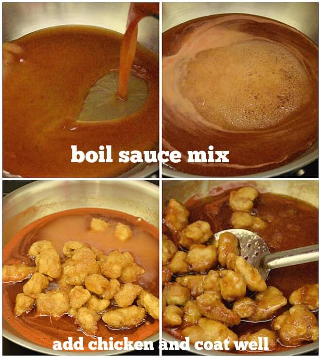 steps to make sweet and sour chicken - in a pan boil sauce,add fried chicken and coat the chicken well