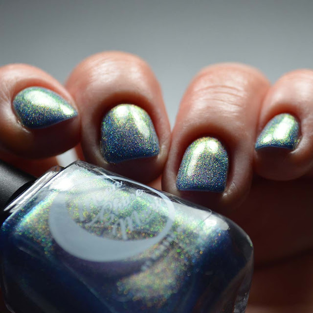 indigo holographic nail polish low light swatch