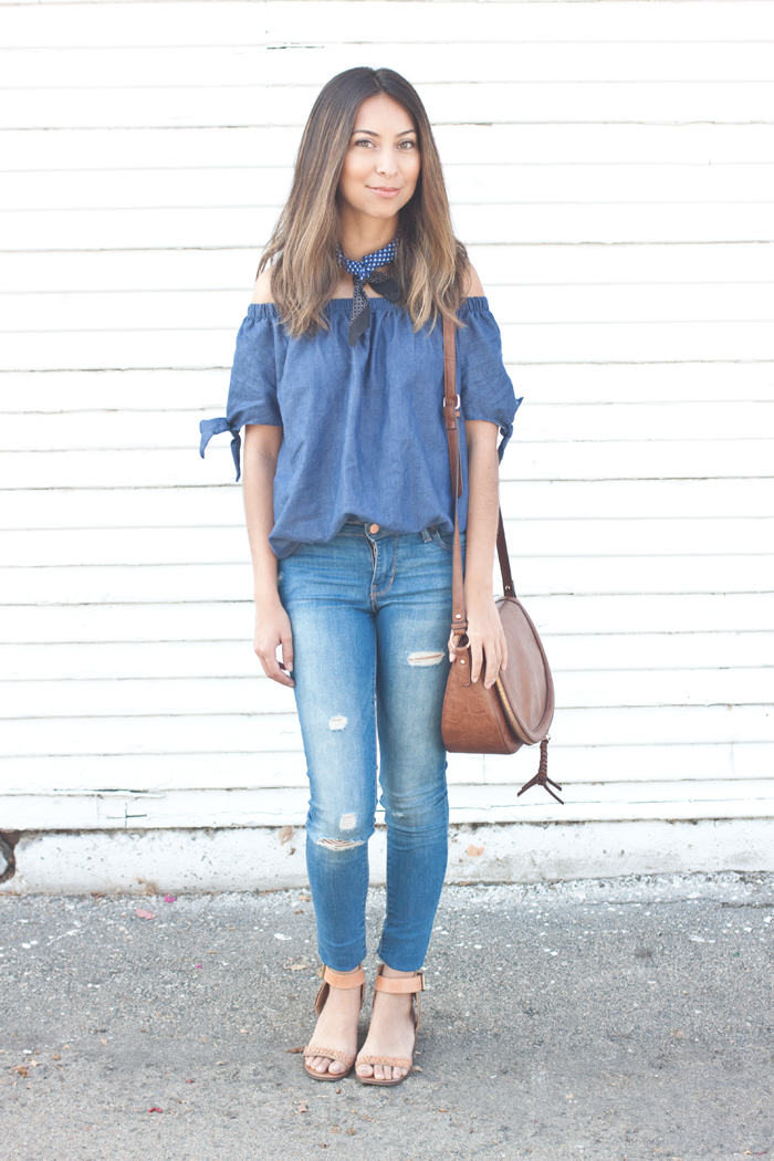 denim top and skinny jeans