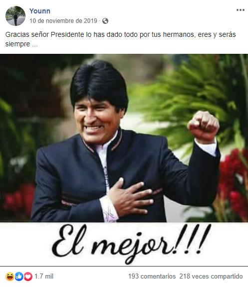 Younn simpatizante de Evo Morales