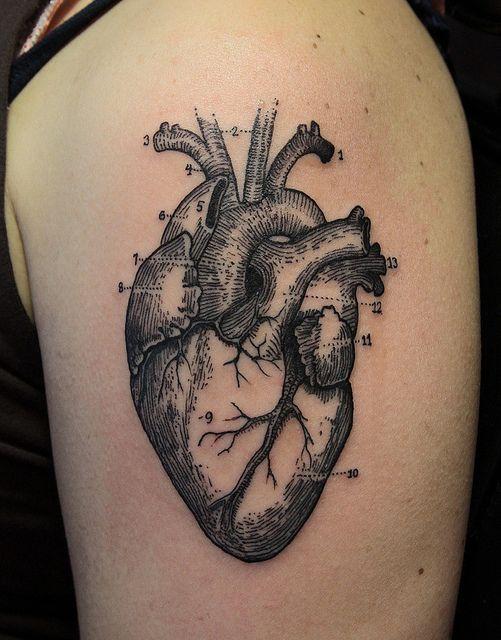 tatuagens femininas de coração para os ombros