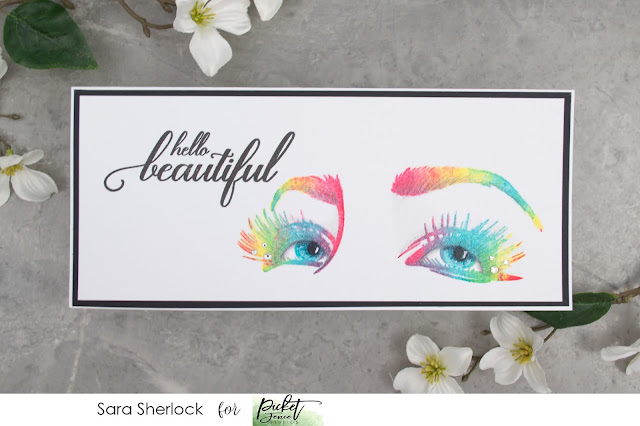 Picket Fence Studios, Life Happens Lashes Help, Rainbow Stamping, Distress Ink Stamping