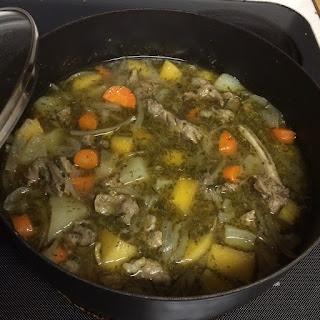 Lamb soup simmering