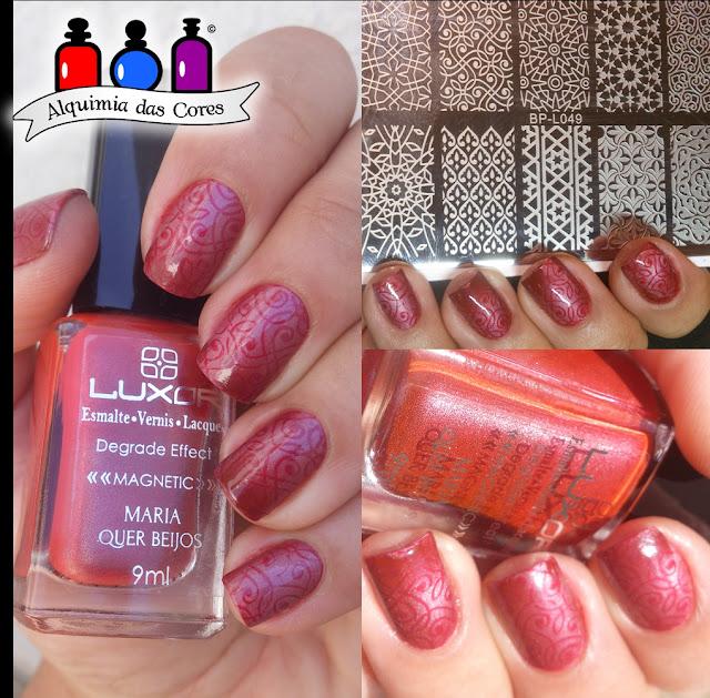 Unhas, esmalte, Luxor, Degrade, Esmalte Magnético, magnético vermelho, unhas carimbadas, nail art, BP-L 049, Magnetic Effect