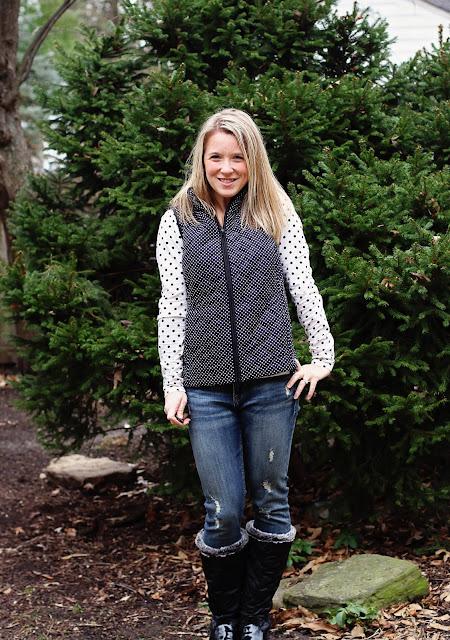 Stitch Fix Market & Spruce Anella Puffer Vest black dots