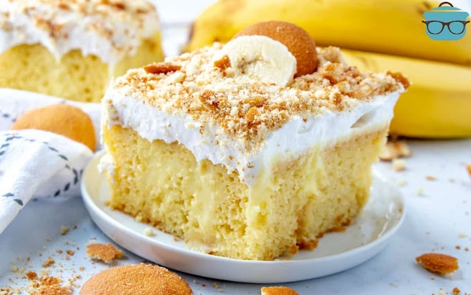 Best Banana Pudding Poke Cake #desserts #cakerecipe #chocolate #fingerfood #easy