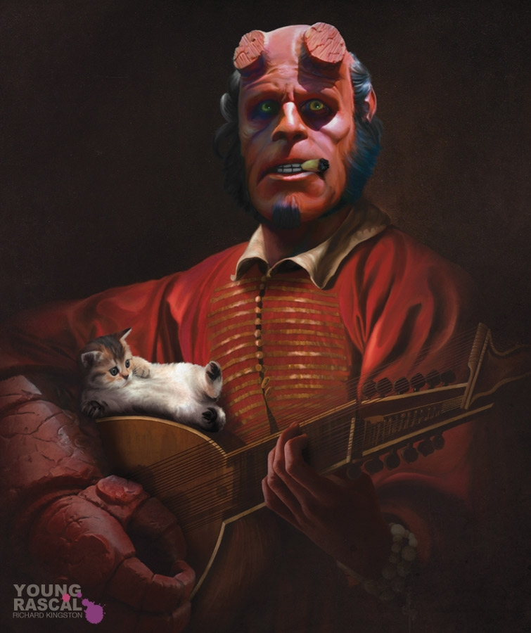 09-Hellboy-Big-Red-Lute-Player-Richard-Kingston-Old-Masters-Paintings-with-a-Science-fiction-Twist-www-designstack-co