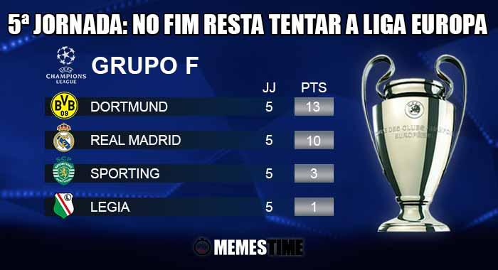 GIF Memes Time - Classificação após a 5ª Jornada do Grupo F da Champions League: Dortmund 8 - 4 Legia & Sporting 1 – 2 Real Madrid | by MemesTime.com (fotos base: pt.uefa.com)