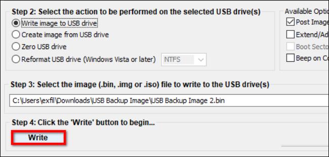اكتب صورة محفوظة إلى محرك USB