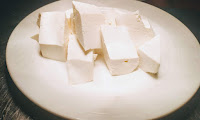 Diamond shaped paneer pieces for chilli paneer recipe