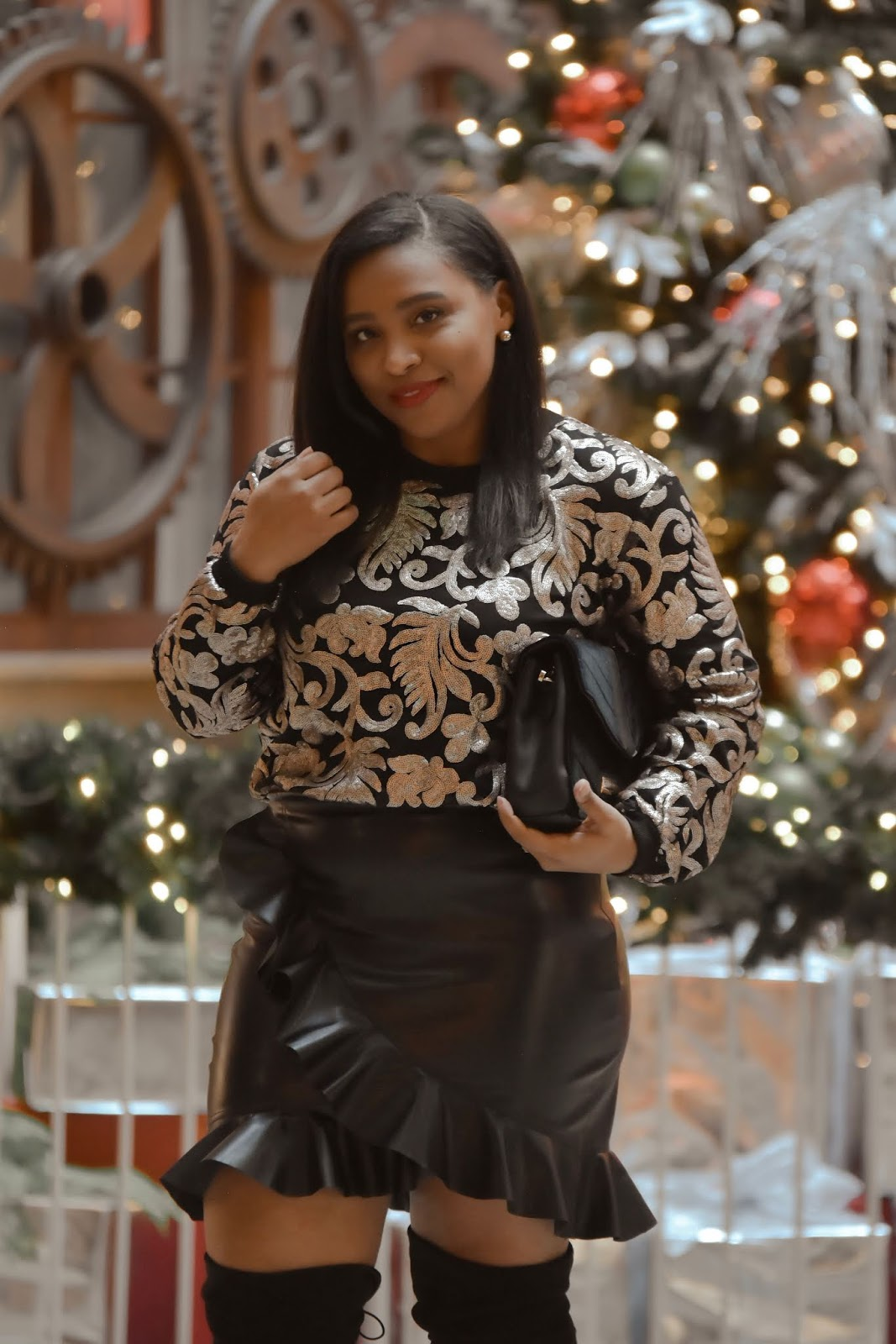 holiday outfit ideas, shein, shein clothing reviews, ruffle skirt, pattys kloset, over the knee boots