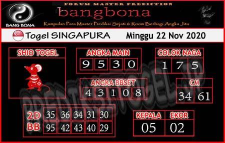 Prediksi Bangbona SGP Minggu 22 November 2020