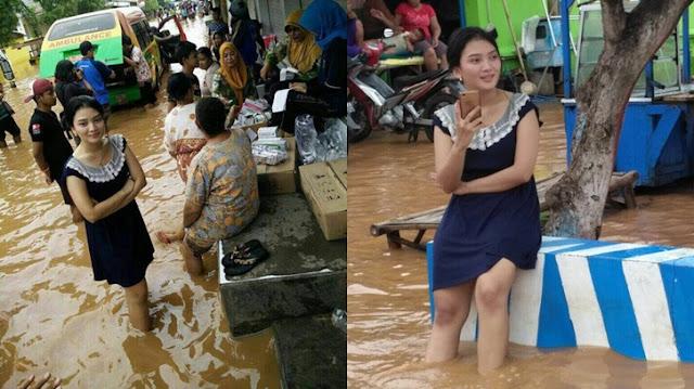 Bidadari turun ditengah banjir