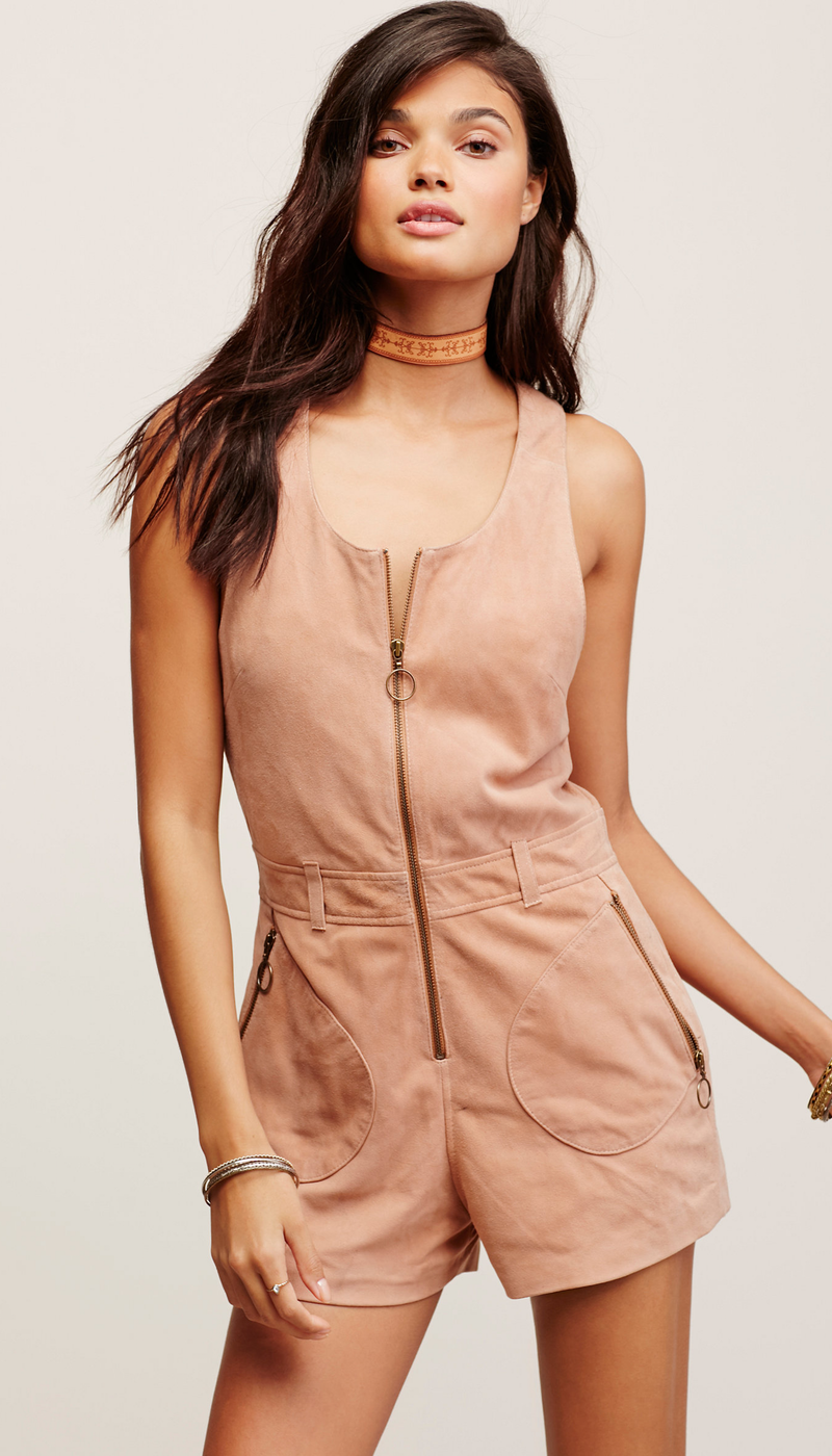 Free People Love Me Suede Romper