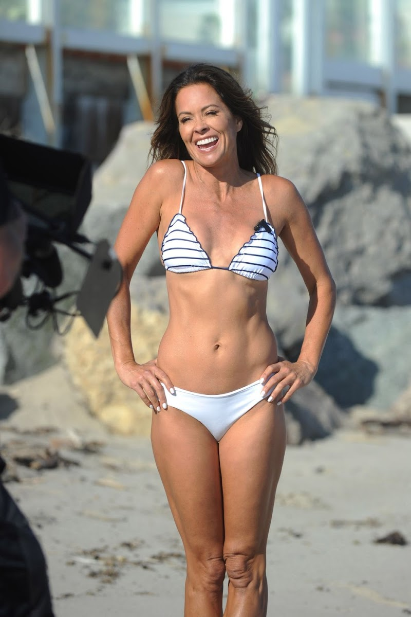Brooke Burke  in Bikini Filming Her Body App at a Beach in Malibu 10 Aug -2020