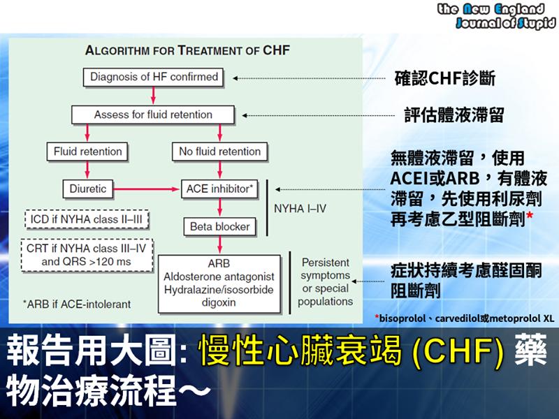[臨床藥學] 報告用大圖:慢性心臟衰竭 (CHF) 藥物治療流程~ - NEJS