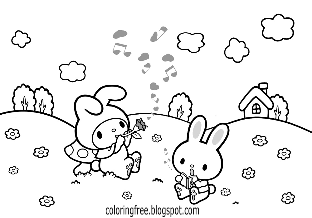 simple hello kitty coloring sheets free cute bunny rabbit flower meadow printables for teenage girls - Coloring Pages Kitty Summer