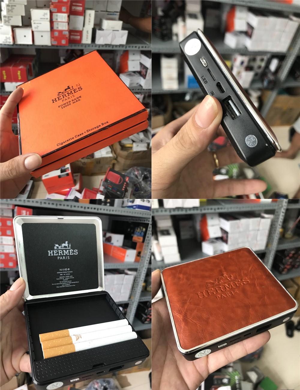 90k - Pin sạc dự phòng kiêm hộp đựng thuốc lá HERMES 12.000mAh vỏ da giá sỉ và lẻ rẻ nhất