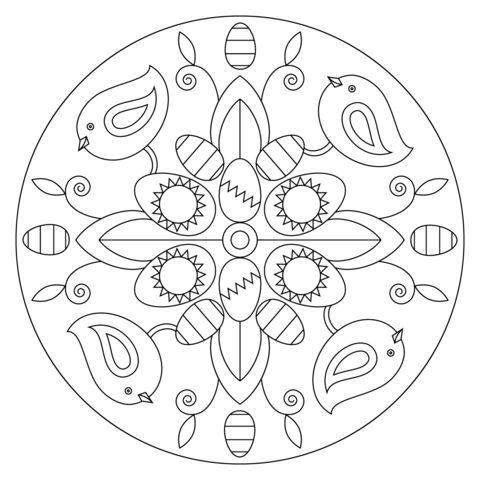 Tranh tô màu hình tròn trang trí họa tiết con chim