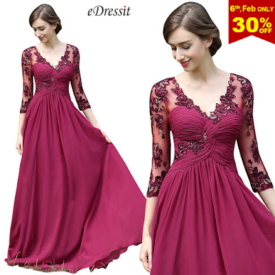Fuchsia Floral Mother of the Bride Occasion Dress