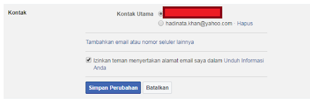 hapus email lama fb
