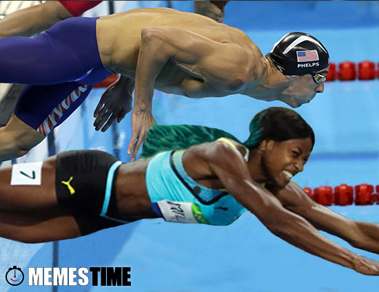 Memes Time Shaunae Miller & Michal Phelps  – 400 meters gold medal Rio 2016