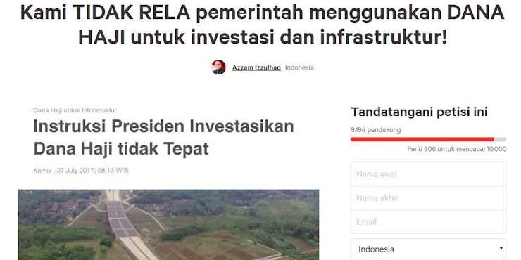 Tolak Dana Haji untuk Infrastruktur, Jokowi Dipetisi Rakyat Sendiri
