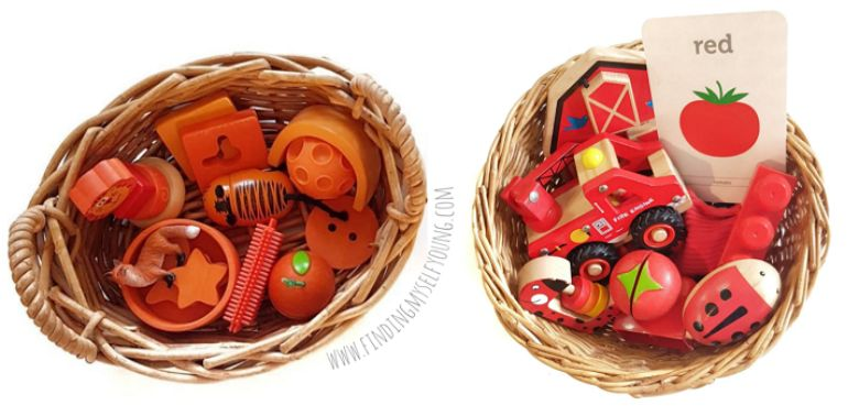 Activities for toddlers - colour discovery basket