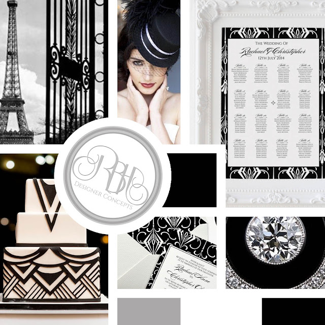 black white art deco mood board by rbhdesignerconcepts
