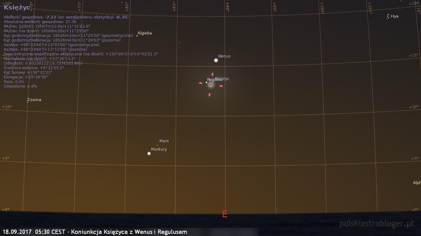 18.09.2017  05:30 CEST - Koniunkcja Księżyca z Wenus i Regulusem