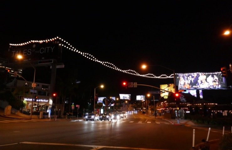 Tales of City lantern lights billboard Sunset Strip night