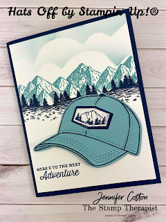 This masculine adventure card uses Stampin' Up!'s Hats Off Bundle along with the Blending Brushes and Mountain Air stamp set.  #StampinUp #StampTherapist #HatsOff
