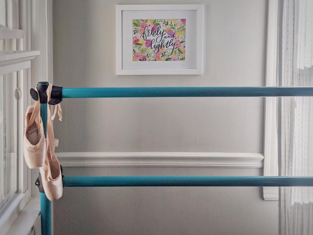 Vita Vibe ballet barre and pointe shoes.
