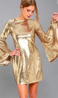 vestido brillante con manga de campana 2018