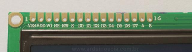 Pinagem LCD 16 x 2 HD44780