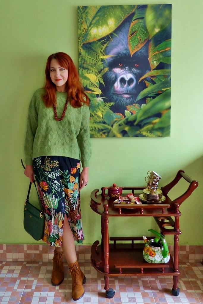 gorilla canvas print, Africa inspired skirt, woolen sweater