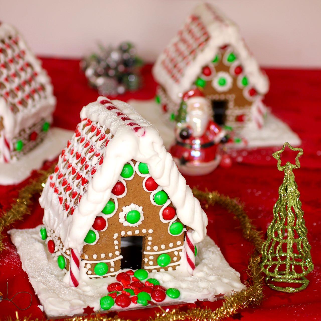 Green Gourmet Giraffe Small Gingerbread Houses With Vegan Royal