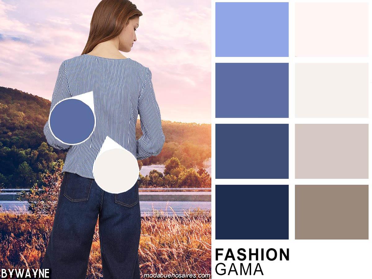 Azules y blancos, combinaciones clásicoas entre los colores de moda de la primavera verano 2020.