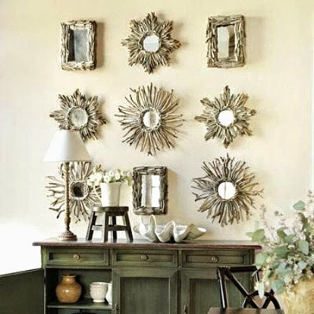 Coastal Gallery Wall with Driftwood Mirrors