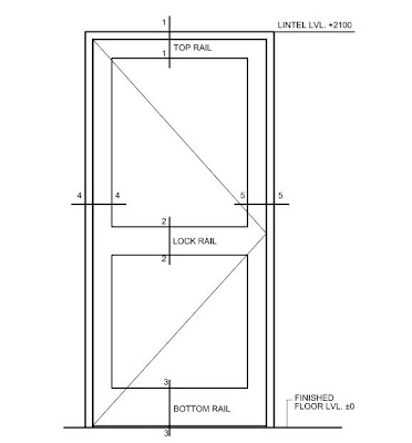 Typical Sectional Elevation Of A Wooden Door