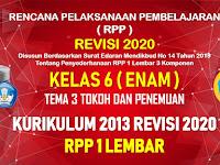 RPP 1 Lembar Kelas 6 Tema 3 SD/MI Kurikulum 2013 Revisi 2020 Tahun Pelajaran 2020 - 2021