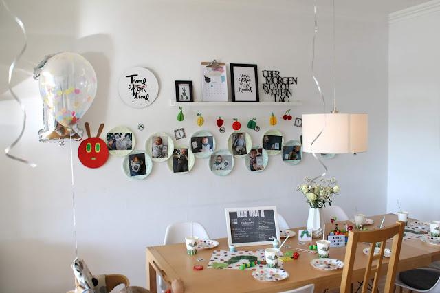 Geburtstag Raupe Nimmersatt Tischdeko Kaffe Kuchen Kinder Ballons Foto-Girlande Jules kleines Freudenhaus