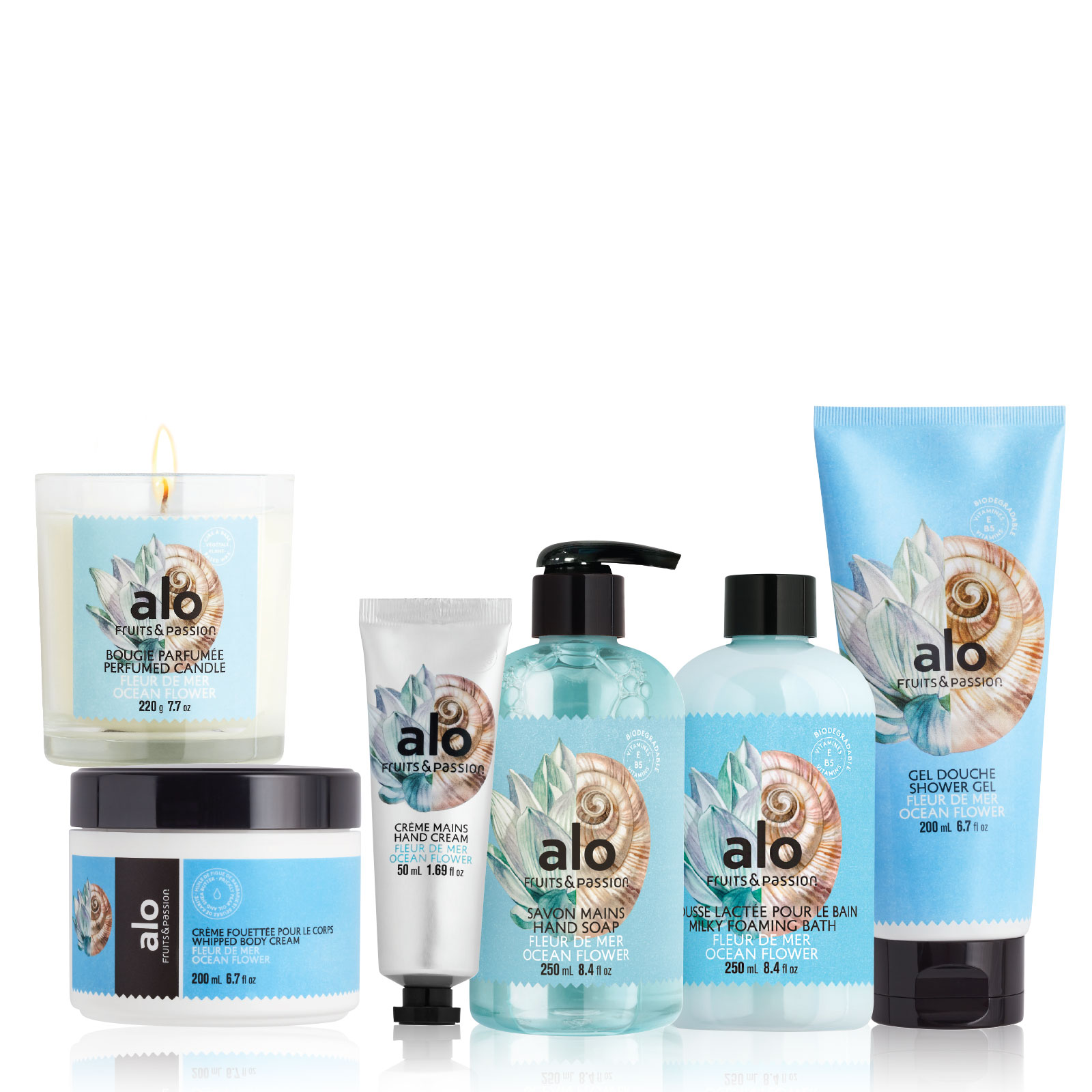 Hello Alo! Treat Mom or yourself to the Fruits & Passion's Alo Ocean Flower body care collection is like an instant vacation for the senses. Bursting with aquatic, beachy notes, these soothing products are now available.
