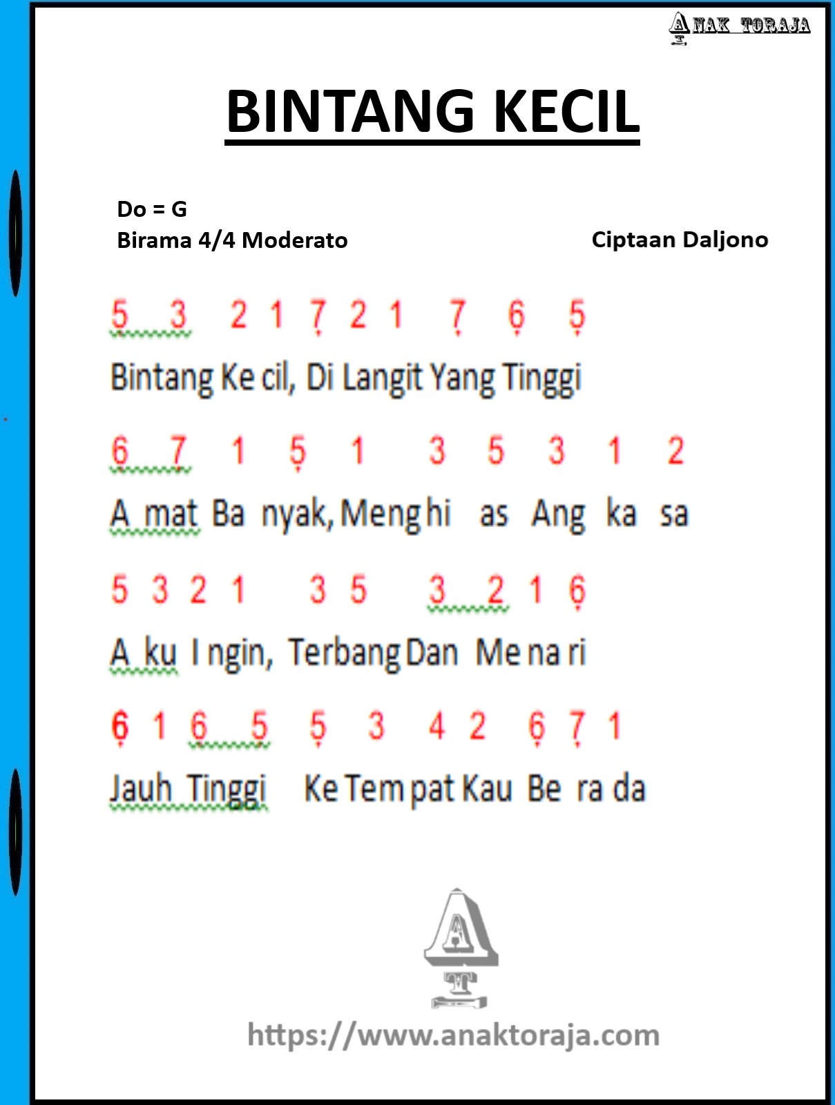 Lagu Anak Anak Beserta Not Angka : beserta, angka, Angka, Bintang, Kecil