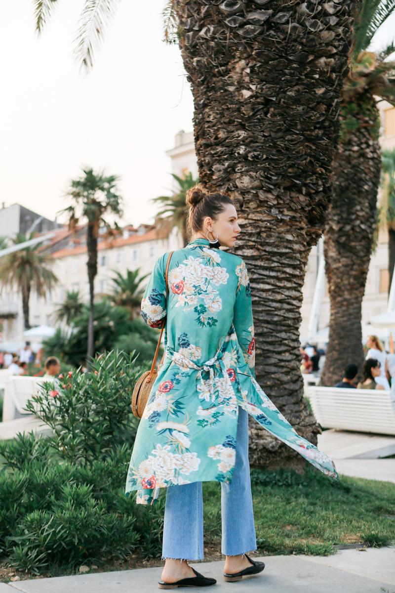 длинное кимоно с чем носить