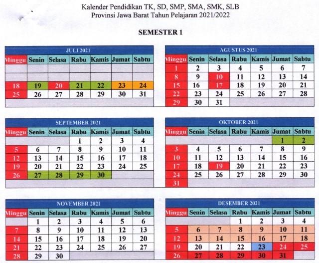 kalender pendidikan 2021/2022 jawa barat