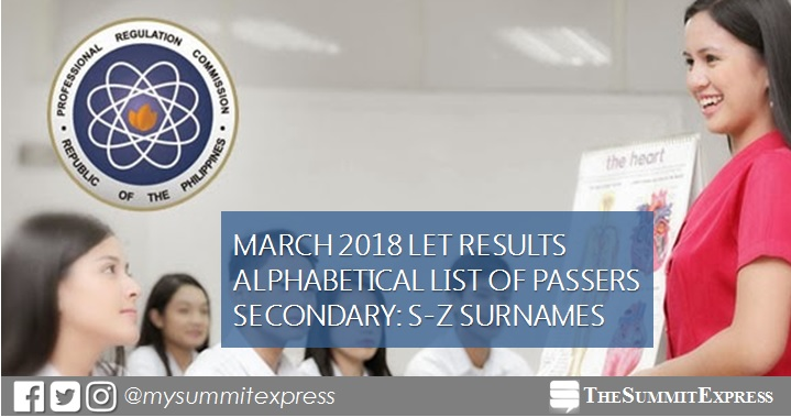 S-Z Passers LET Result March 2018 Secondary Level